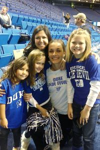 Becca Greenwell (in white shirt) caught up with family when Duke played at Kentucky,her home state, on Sunday. From left are cousin Olivia Neubauer, sister Emma Elder, aunt Anissa Neubauer and sister Briley Elder.