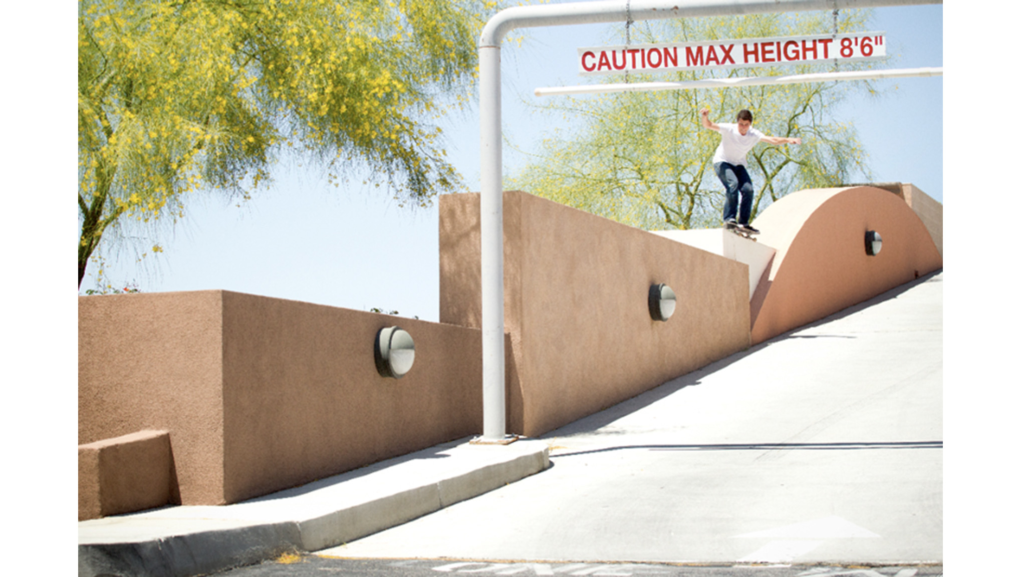 Tom Karangelov grinds a tall one in Palm Springs.