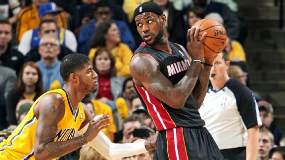LeBron James and the Heat are the East favorites despite the Pacers' gaudy record.