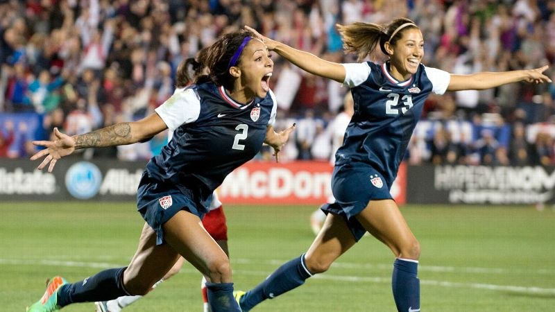 Sydney Leroux celebrates with Christen Press after scoring in the 78th minute Friday in the United States 1-0 win over rival Canada.