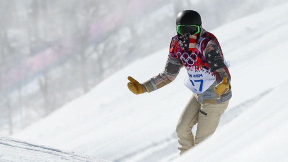 White reacts to his coach, Bud Keene, during slopestyle practice at Rosa Khutor, Sochi, where he injured his wrist Tuesday on a course he called intimidating.