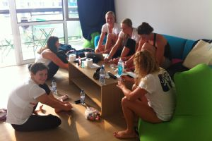 Jessica Hardy and her teammates painting their toenails at the Olympic Village in London in 2012.