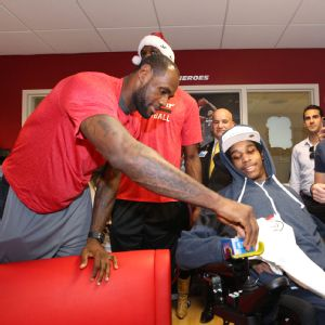 LeBron James participates in a holiday visit at the Holtz Children's Hospital in Miami in December.