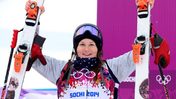 Silver medal winner Devin Logan celebrates after the slopestyle finals.