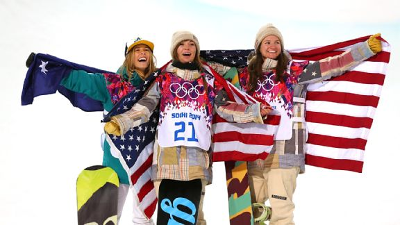 Kelly Clark, right, settled for bronze behind gold and silver medalists Kaitlyn Farrington, center, and Torah Bright, left.