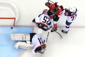 A controversial third-period goal gave Canada a 2-1 lead against the United States.