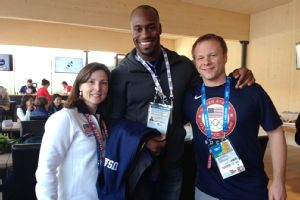 While in Sochi, Vernon Davis has been busy spreading the word about U.S. curling.