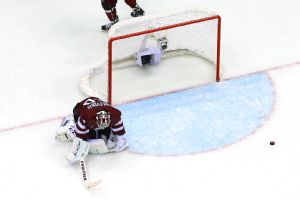 Latvia's Kristers Gudlevskis made 55 saves against Canada in the quarterfinals.