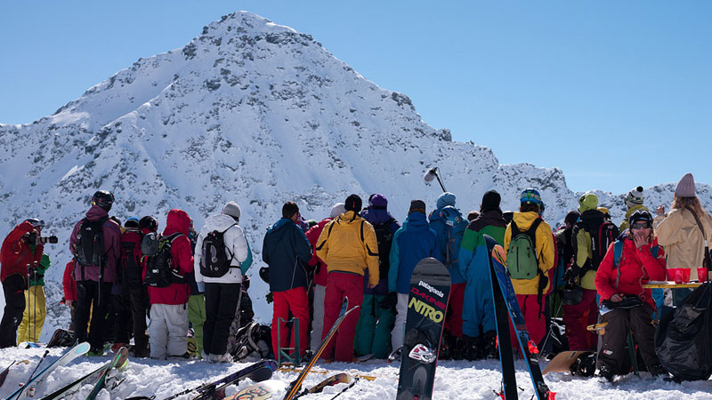 Fans observe competitors on Verbier's pyramid-shaped peak known as Bec des Rosses.