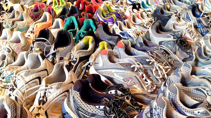 Dear Boston Marathon display, running shoes