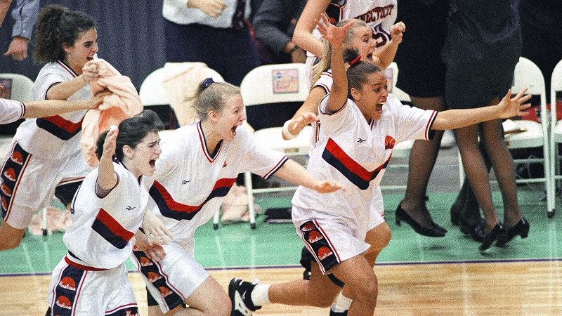 Connecticut claimed its first-ever No. 1 ranking in women's basketball after beating powerhouse Tennessee on Jan. 16, 1995. That game marked the beginning of one of sports' fiercest rivalries. So when the two schools advanced to the national championship, the game attracted unprecedented hype and attention. The Huskies defeated the Lady Vols 70-64, instantly propelling Geno Auriemma's squad to national prominence.