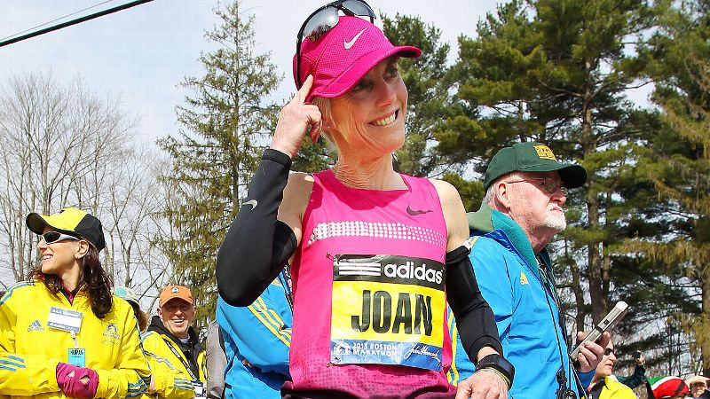 Joan Benoit Samuelson warms up prior to the start of the Boston Marathon on April 15, 2013.