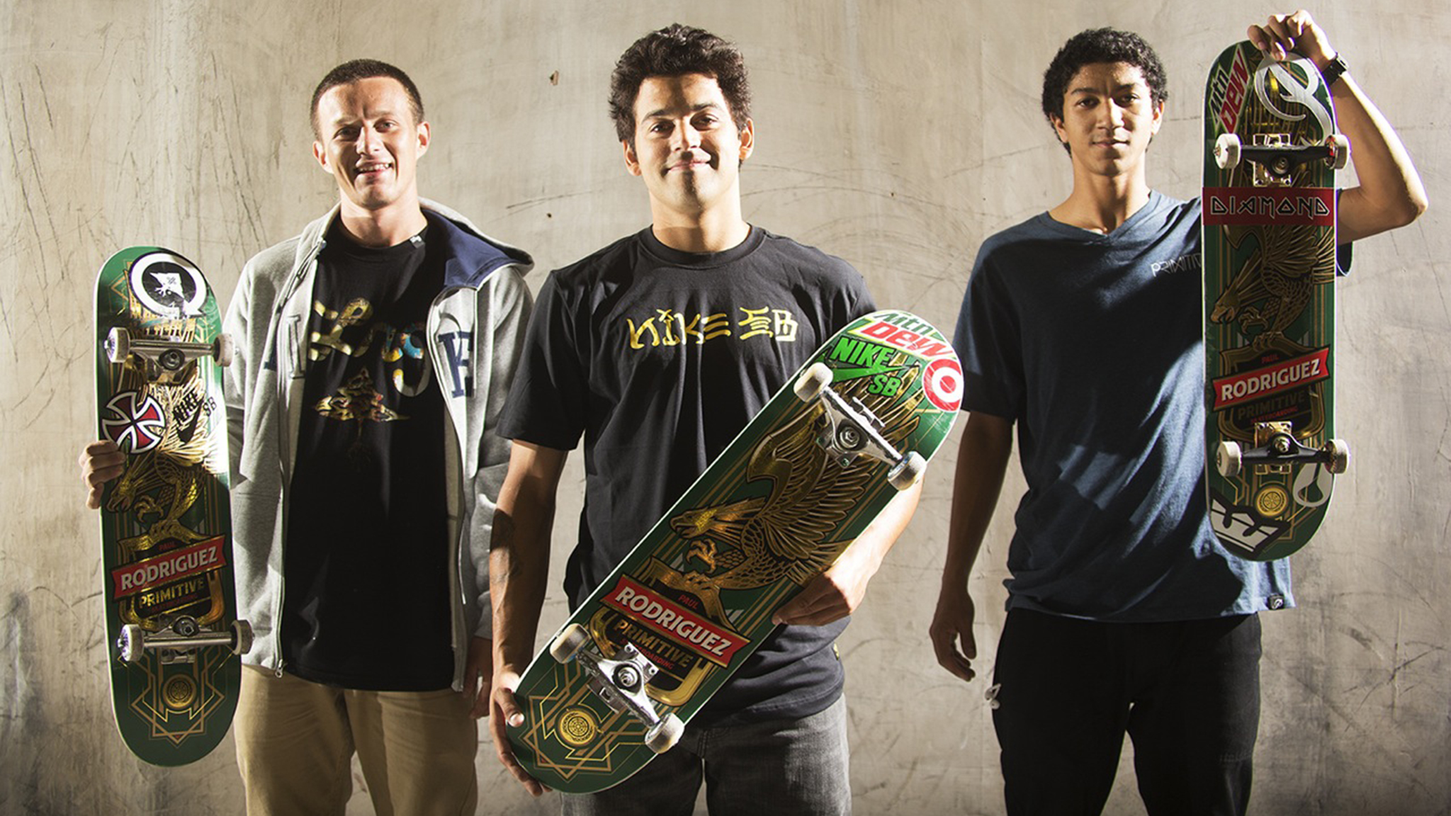 The new Primitive Skateboarding team, from left to right: Carlos Ribeiro, Paul Rodriguez and Nick Tucker.