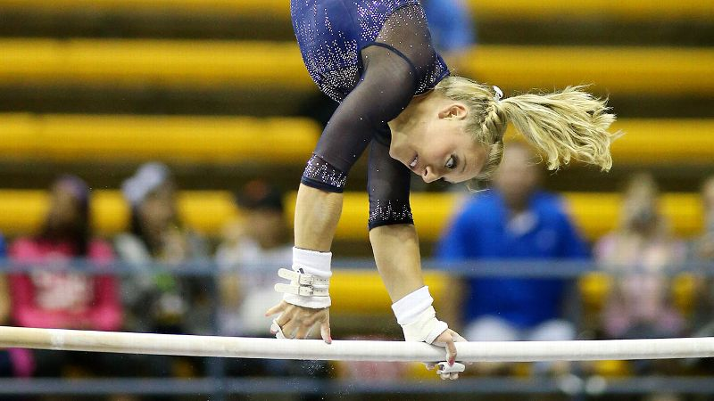 Samantha Peszek, a 2008 Olympian and current UCLA gymnast, has competed under both the college and elite rules.