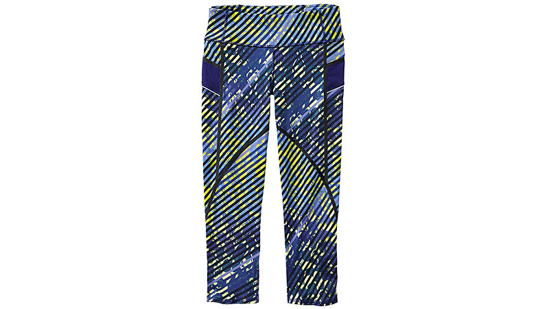 These boldly printed capris are made from recycled polyester/lycra Spandex and are perfect for running or the gym. The fabric is lightweight and breathable and wicks away sweat. There's a rear zip pocket to stash you phone or fuel and reflective trim to keep you visible. Plus, Athleta's Unstinkable technology features odor control in the fabric.