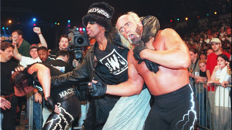 After being suspended for 11 games in January 1997 for kicking a cameraman in the groin during a game against the Minnesota Timberwolves, Rodman decided to use his newfound downtime to pursue another passion -- pro wrestling. Teaming up with Hulk Hogan and the New World Order, Rodman and his furry top hat fit right in with the famed heel faction. Rodman competed in multiple matches, including a much-hyped showdown against Karl Malone in 1998.