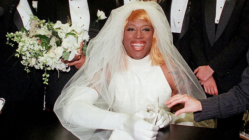 This was perhaps the most famous of his famed antics: Rodman arrived to a book signing in 1996 in a horse-drawn carriage, dressed in a wedding dress and a blonde wig. He then announced to the crowd that he was bisexual and would be marrying himself.