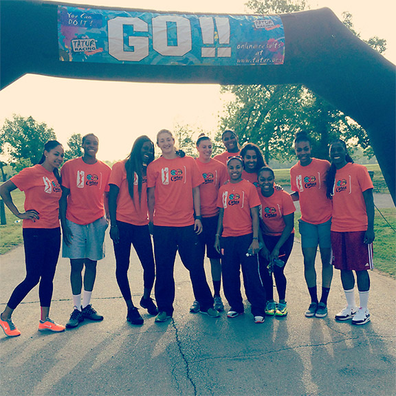 Team pic at the start/finish line of the Girls on the Run 5K!