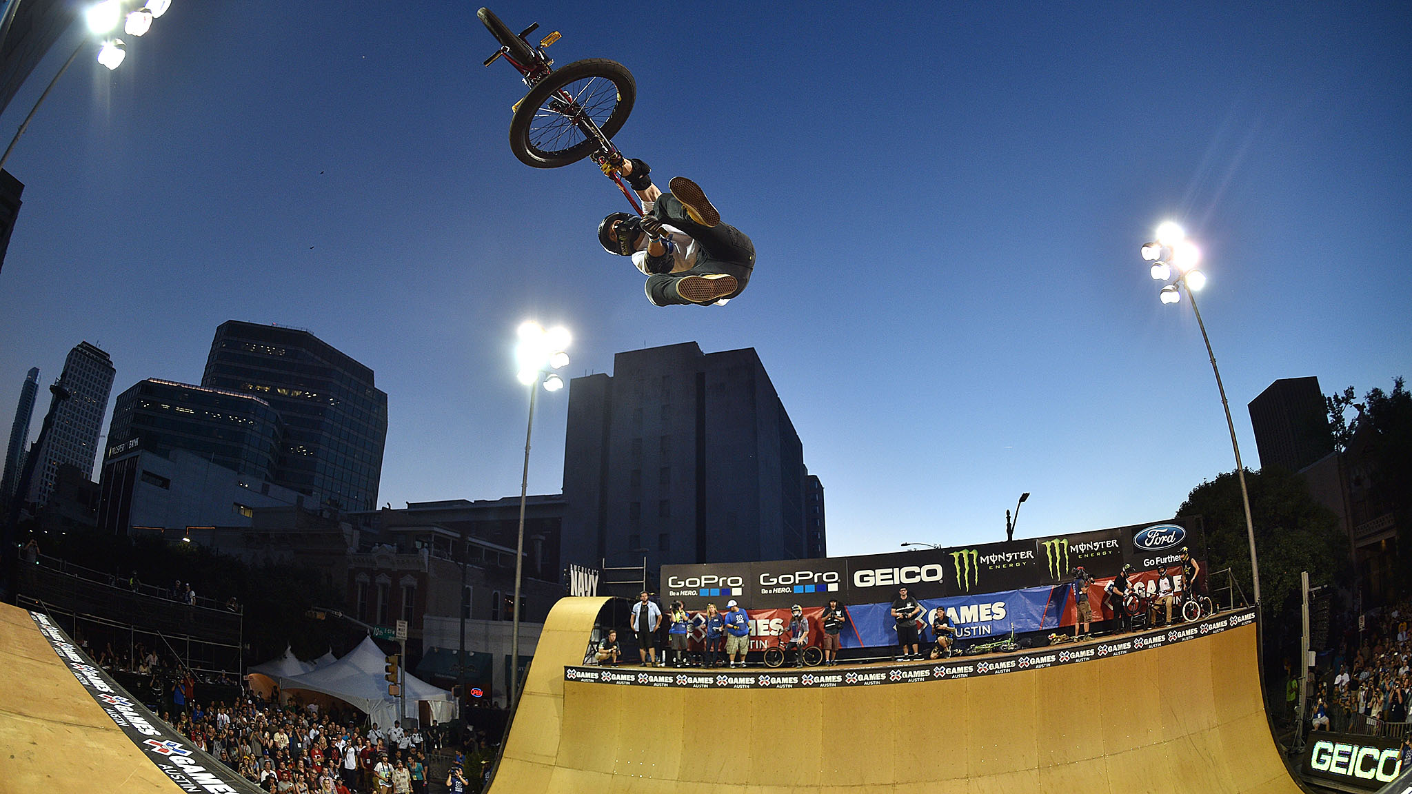 Jamie Bestwick won his ninth consecutive gold medal in BMX Vert on opening night of X Games Austin on Thursday, riding in the shadow of the Texas State Capitol building. Bestwick held off challenges from Simon Tabron and Dennis McCoy, who took silver and bronze, respectively, thanks to big tricks like a front flip flair, alley-oop tailwhip turndown, flair tailwhip and 540 one-foot seatgrab combo.