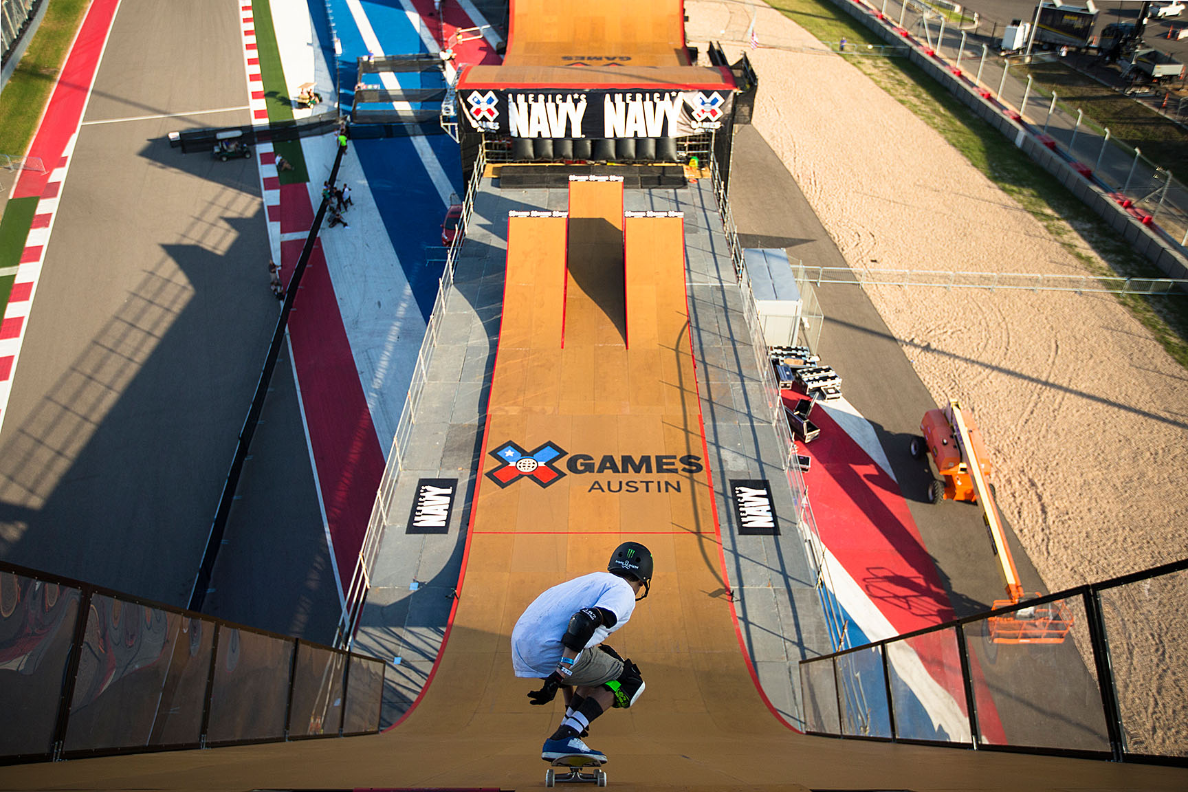 Skateboard Big Air competitor Trey Wood tests out the MegaRamp roll-in during practice on Thursday. Wood is part of the new generation of MegaRamp skaters being schooled to ride the ramp by veteran pro Bob Burnquist.