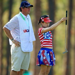 Lucy Li was unfazed by the moment on the first hole, but her caddie Bryan Bush had a serious case of the jitters.