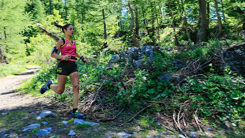 One of the best female trail runners in France, Sissi Cussot, 32, kills a downhill portion of her 14.6-kilometer leg. Cussot, who took up the sport in 2011 and placed second in the 40K Trail of Galinette last year, began her run for Team Enduro at 1:30 p.m. and fought against the heat and dehydration during her challenging sub-2 hour run.