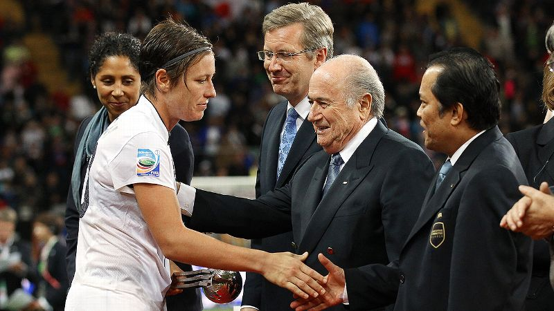 FIFA president Joseph Blatter, seen here with U.S. star Abby Wambach said he was pleased with the 2019 women's World Cup bids.