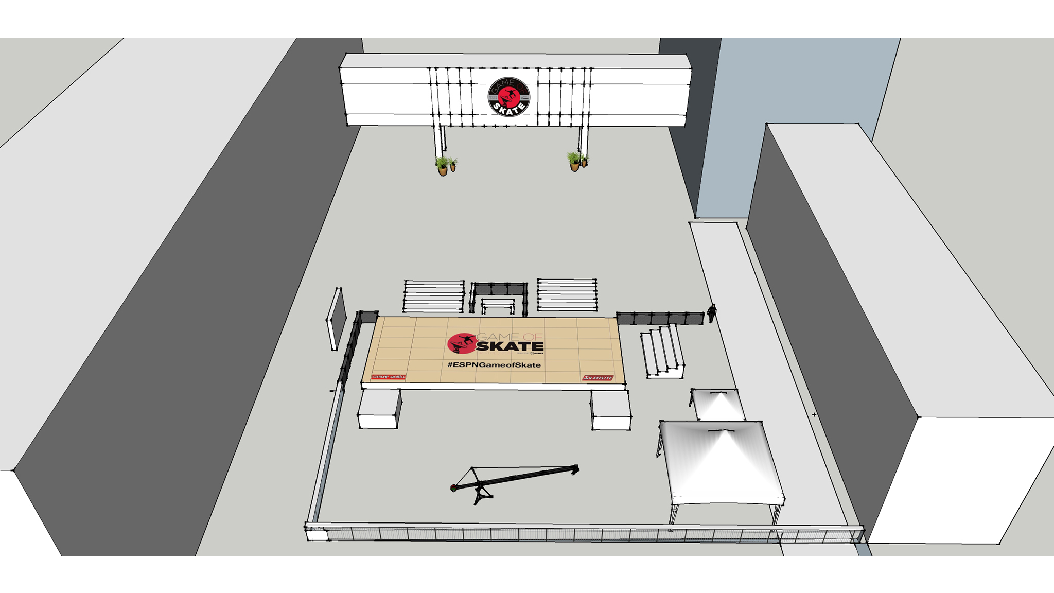 Course rendering for the Game of Skate at ESPN headquarters in Bristol, Connecticut.