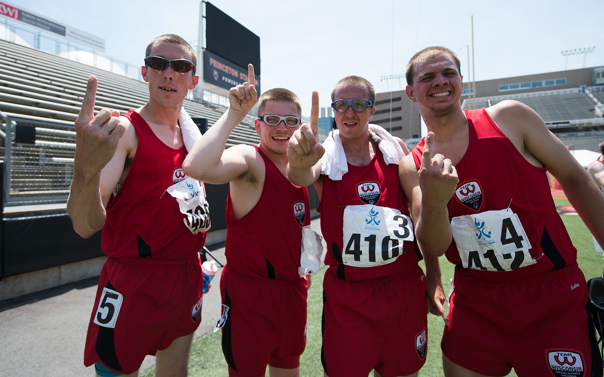 Wisconsin's Jerry Halboth, Zechariah Tietz, Thomas Mislivecek and Dustin Scott celebrate a first-place finish in the men's 4x400-meter relay at the 2014 Special Olympics USA Games.