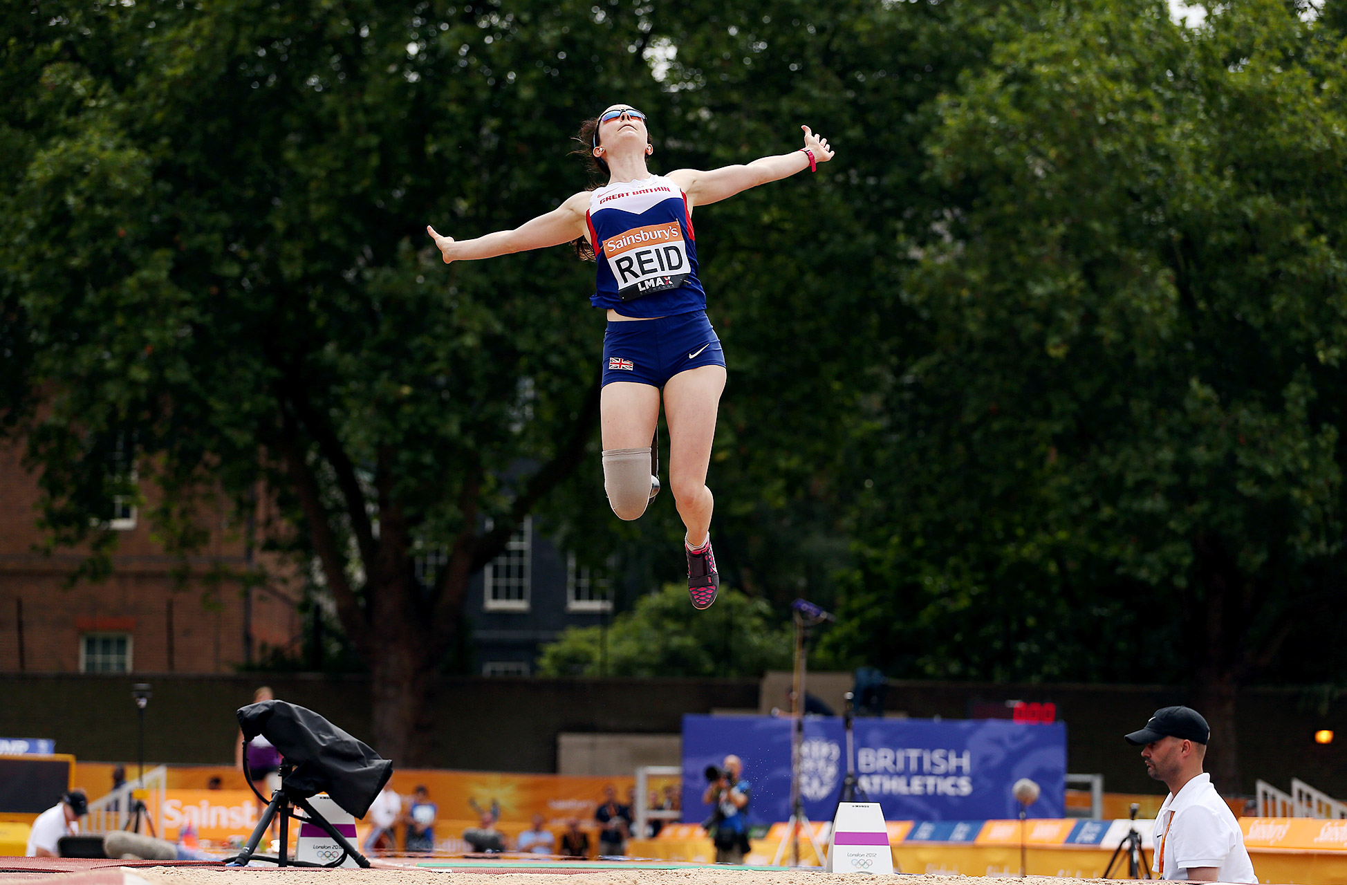 Great Britain's Stefanie Reid competes in the women's long jump T42/44 event during the Sainsbury's Anniversary Games at Horse Guards Parade in London.