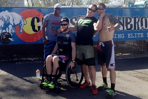 Kevin Ogar, with fellow CrossFitters (from left) Ray Hawkins, Matt Hathcock and Christian Lucero, has been shocked by the outpouring of support he's gotten within the CrossFit community.