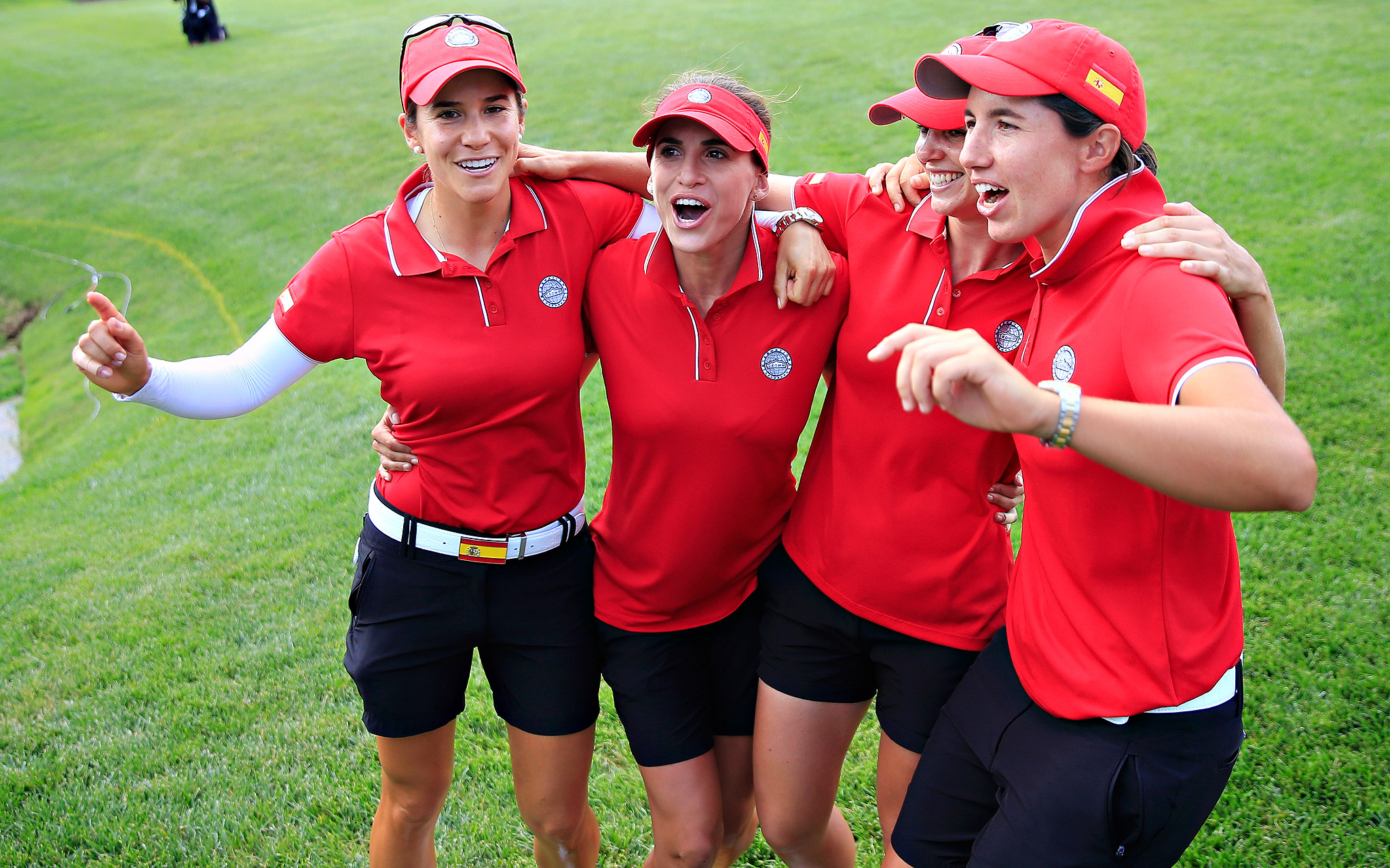 From left: Spain's Azahara Munoz, Belen Mozo, Beatriz Recari and Carlota Ciganda celebrate after winning the International Crown in Owings Mills, Maryland. Spain won all four of its singles matches in the final round to win the coveted trophy.