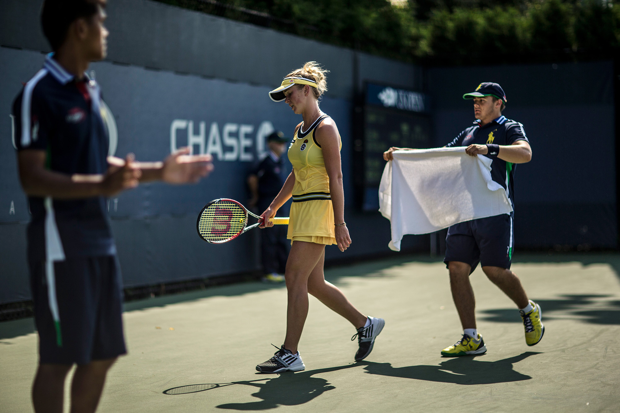 After losing the first set 6-2, Svitolina fought back to force a tiebreaker in the second set. But when she fell behind with the match on the line, she waved off the ball person's towel and headed to the back of the court for a tense moment alone.