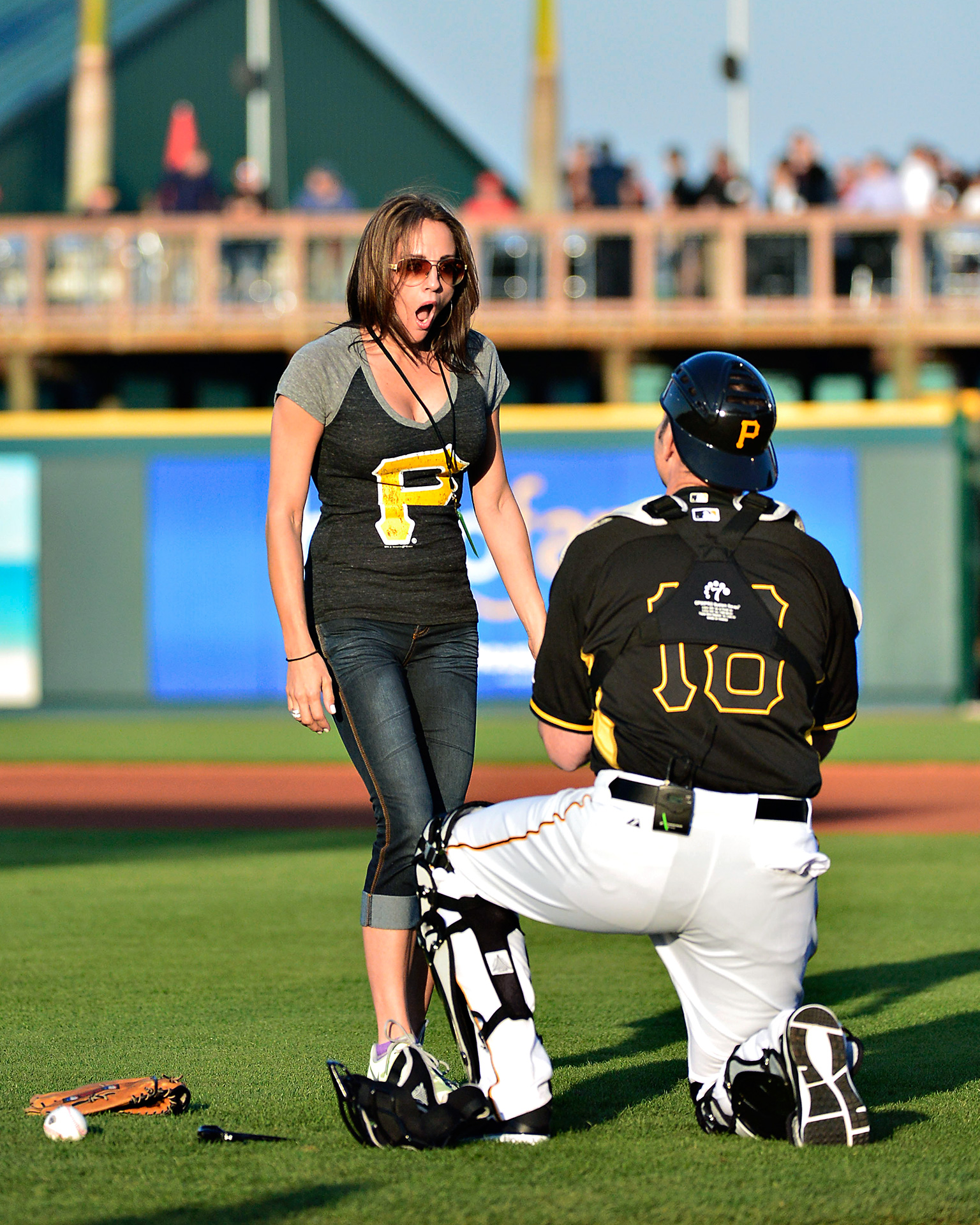 Unlike Johnson, Pittsburgh Pirates catcher Kelly Keenan couldn't wait until after the game -- or even until the 2014 season started -- to propose to his girlfriend Samantha Bruno. Who says nothing exciting happens during spring training?