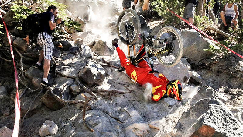 Mountain biker Amanda Batty didn't just survive this crash; she got up and won the race.