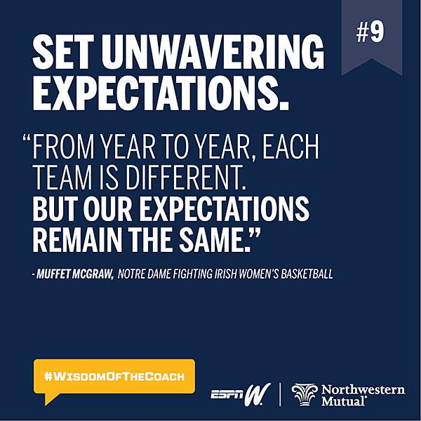 9. Set unwavering expectations. #WisdomOfTheCoach