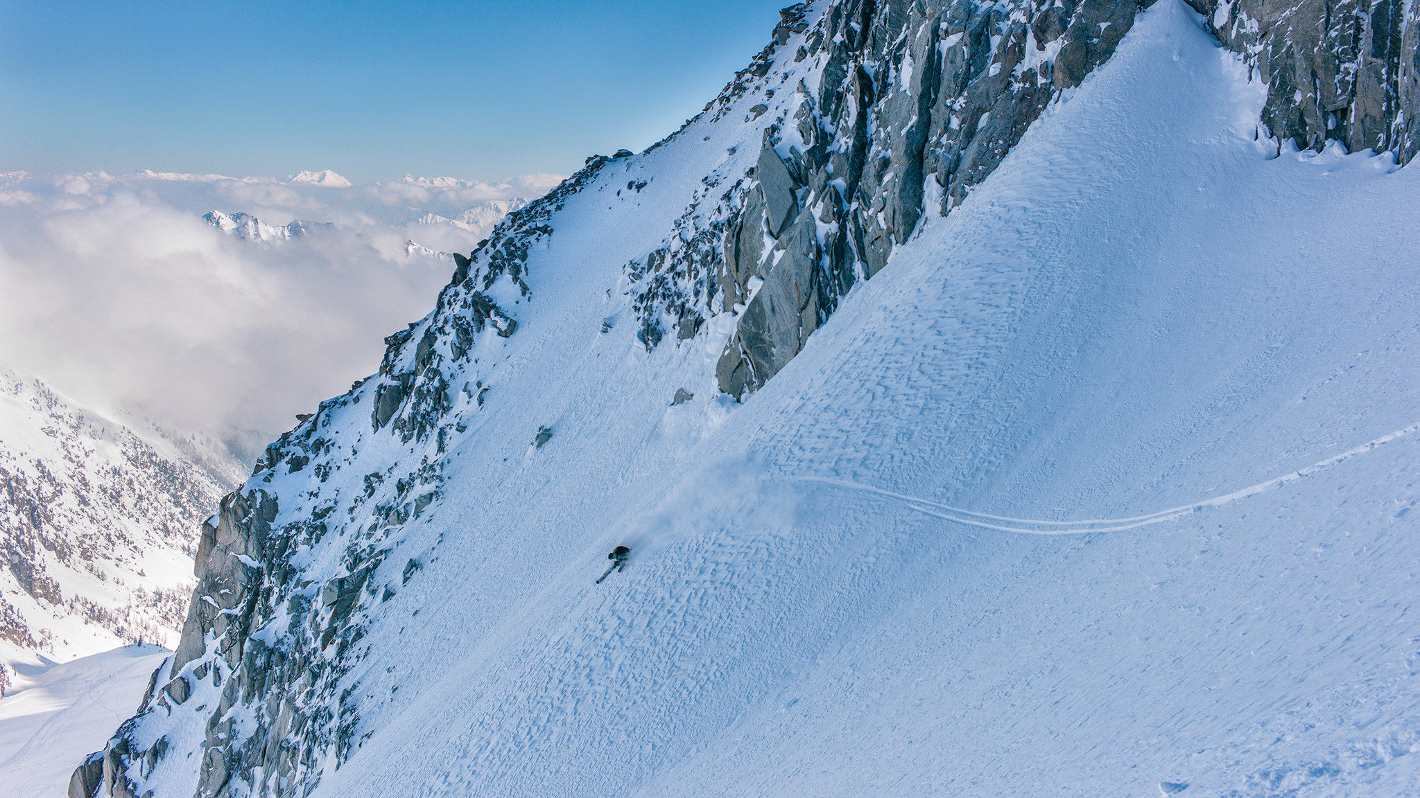 JP Auclair, pictured here skiing a line in Zermatt, Switzerland, in 2013, died in an avalanche in Chile on Monday.