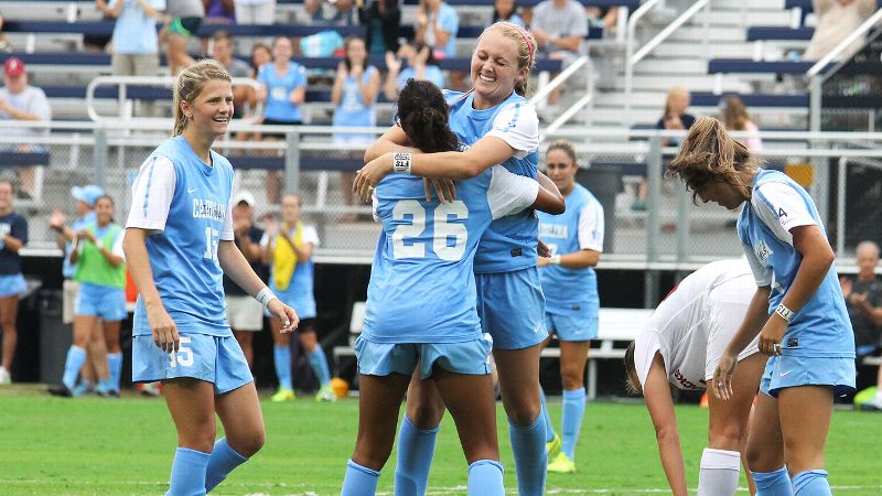 Freshman Annie Kingman, celebrating with Jewel Christian (26), scored to give North Carolina a 1-1 tie with Florida State as the two teams remained tied atop the ACC.