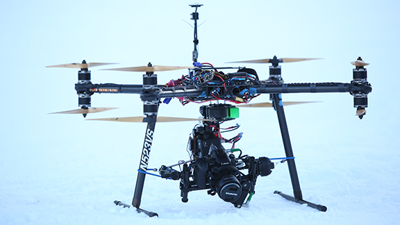 A GH4 camera is prepped for drone flight over X Games Aspen.