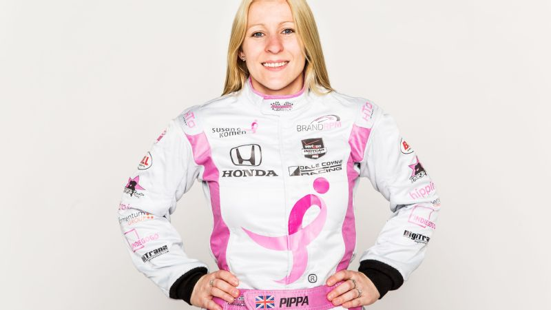 IndyCar driver Pippa Mann in her custom Hinchman firesuit.