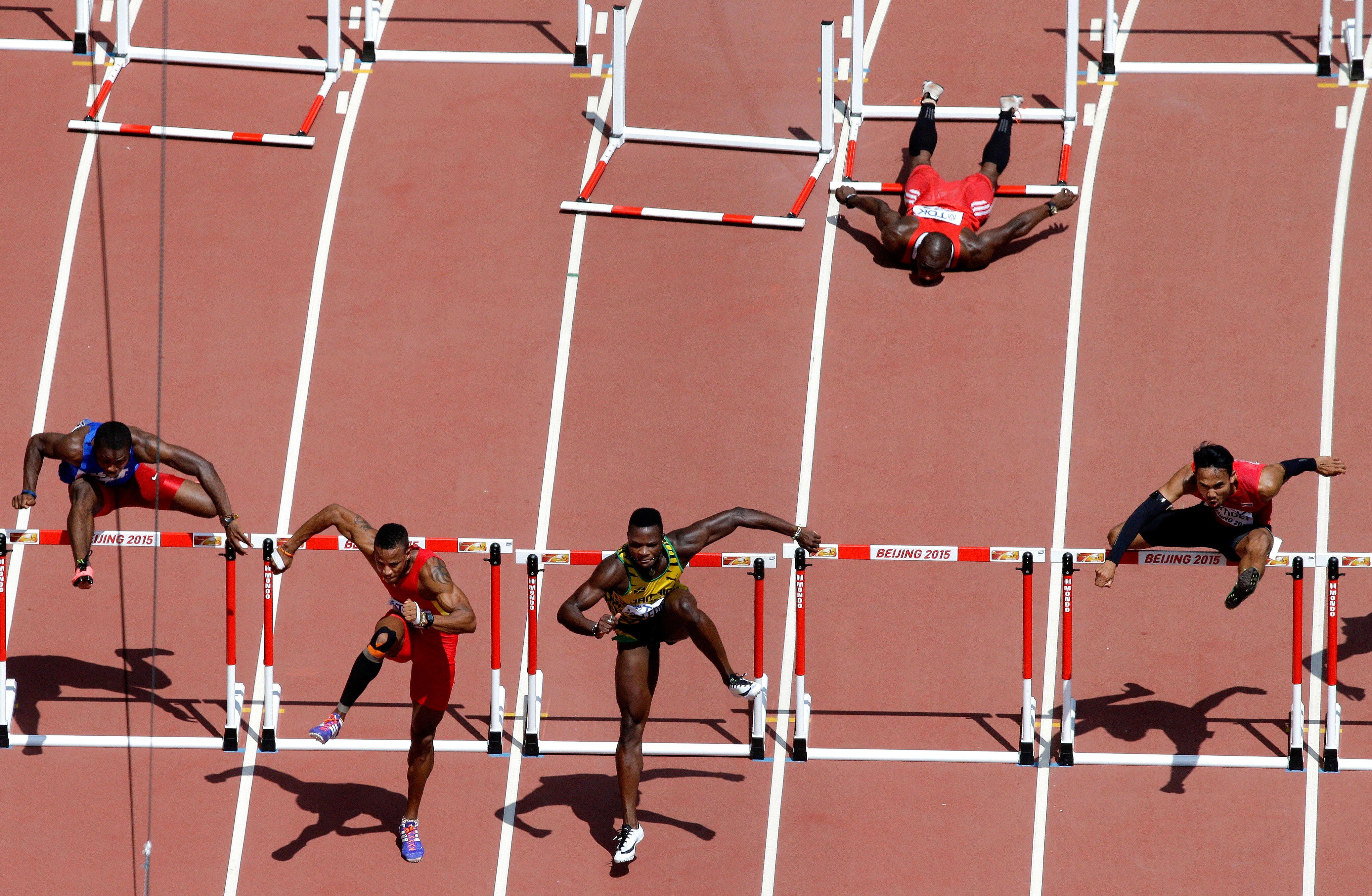Mikel Thomas falls behind
