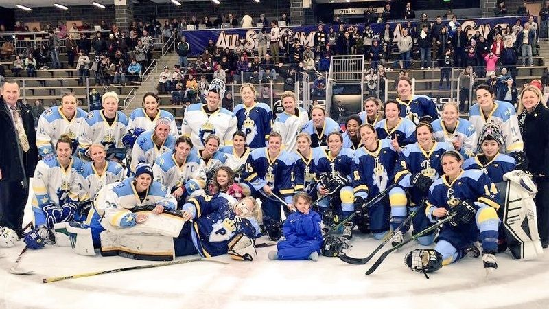 Team Pfalzer, captained by Buffalo's Emily Pfalzer, and Team Knight, led by Boston's Hilary Knight, at the inaugural NWHL All-Star Game.