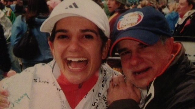 Allie Burdick with her dad at the Boston Marathon in 2007.
