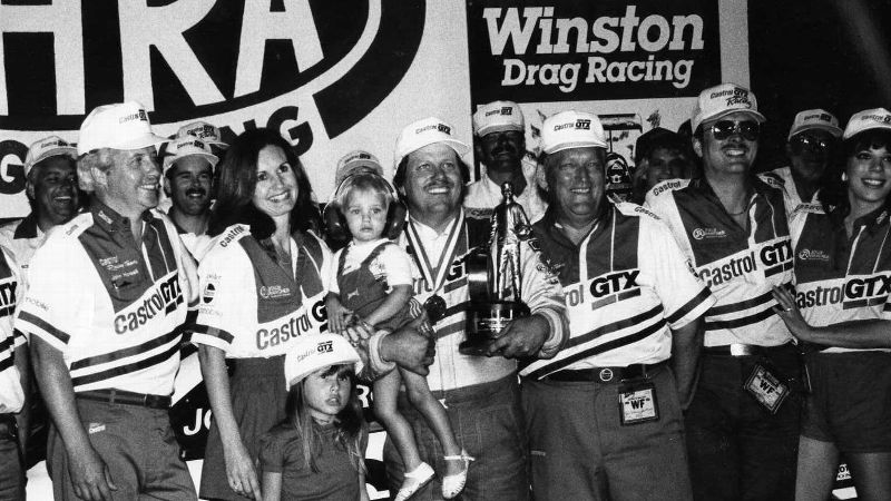 John Force with Laurie, Ashley (standing) and Brittany in 1984 or '85.