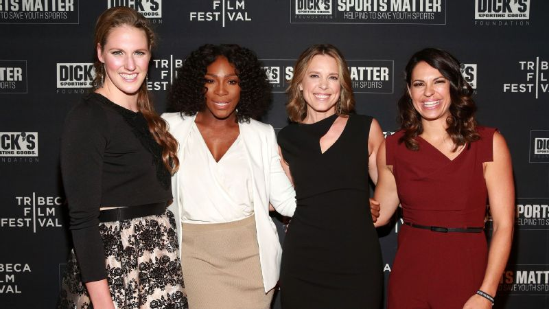 Missy Franklin, Serena Williams, Hannah Storm and Jessica Mendoza attend the Dick's Sporting Goods premiere of Keepers of the Game, an official film of the 2016 Tribeca Film Festival.