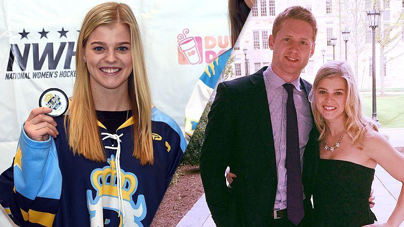 Emily Pfalzer, U.S. women's hockey defenseman, with boyfriend Mike Matheson, Florida Panthers defenseman
