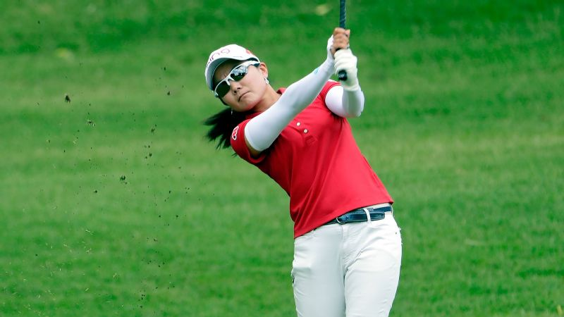 Ayako Uehara's 9-under round Friday at Pinnacle Country Club matched the course record and gave her a two-stroke lead.