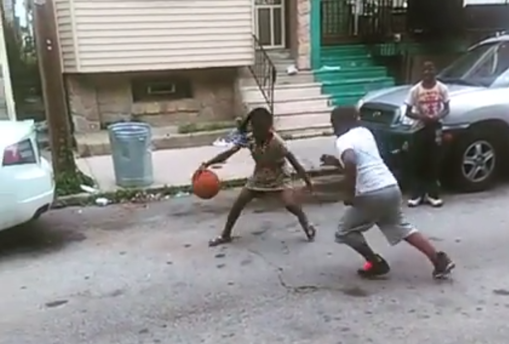 little girl with sick handles