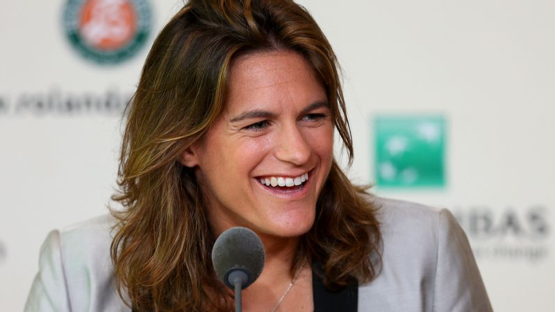 Amelie Mauresmo speaks to the press affter being appointed Andy Murray's coach.