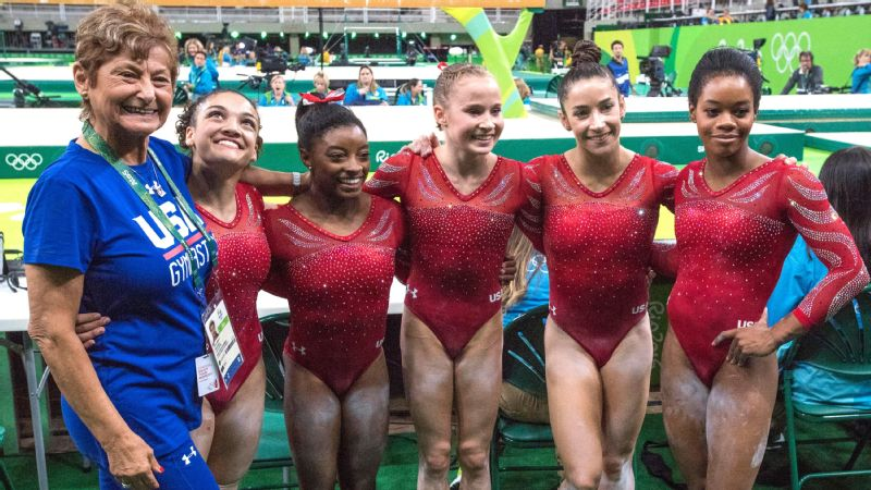 The U.S. women's team (from left, team coordinator Martha Karolyi, with gymnasts Laurie Hernandez, Simone Biles, Madison Kocian, Aly Raisman and Gabby Douglas) is likely to win team gold in Rio by a large margin.